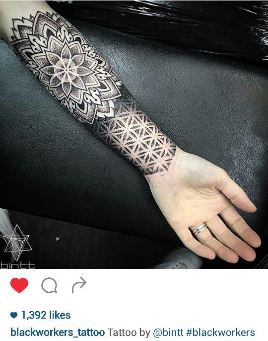 Black and gray dotwork mandala tattoo by @bintt