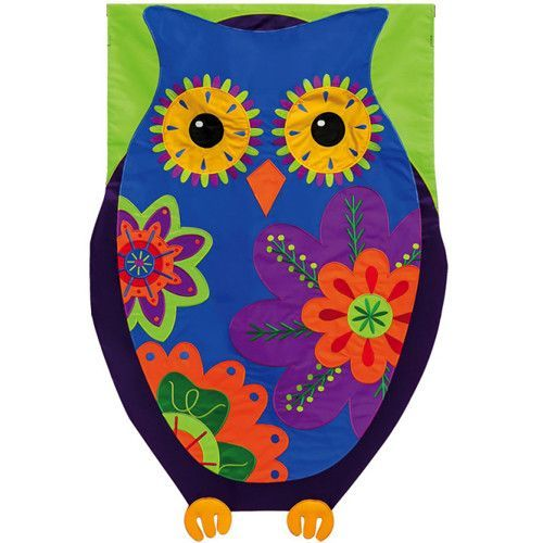 Evergreen Owl Appliqued House Flag