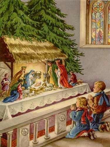 Our church had a big Nativity like this.  Inside the altar rail.