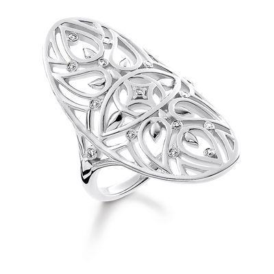 ring - 925 sterlingsilver - vit diamant • Mandala-ornamentik • Diamantglans • Blomlik, utskuren design Fantasifull resa till det inre: De ornamentala mandala-mönstren på den konstfulla ringen med utskuren design påminner om fina blad- och blommotiv. Dessa speglar sig magiskt i glansen av de fasetterade diamanterna. Nazar ögat i centrum skyddar dessutom mot olycka.