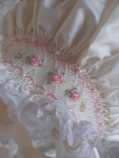 Love this on a Arm - - - band.........Silk Smocked Baby Bonnet by decidedlyromantic on Etsy