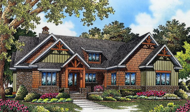 Design In Progress 1406: This small #Craftsman house plan has every amenity: Spacious kitchen with large pantry, extra #storage throughout, open dining space, outdoor #fireplace, micro-office, large utility room, and roomy master bath. See the floor plan here: http://houseplansblog.dongardner.com/craftsman-house-plan-drawing-board-1406/