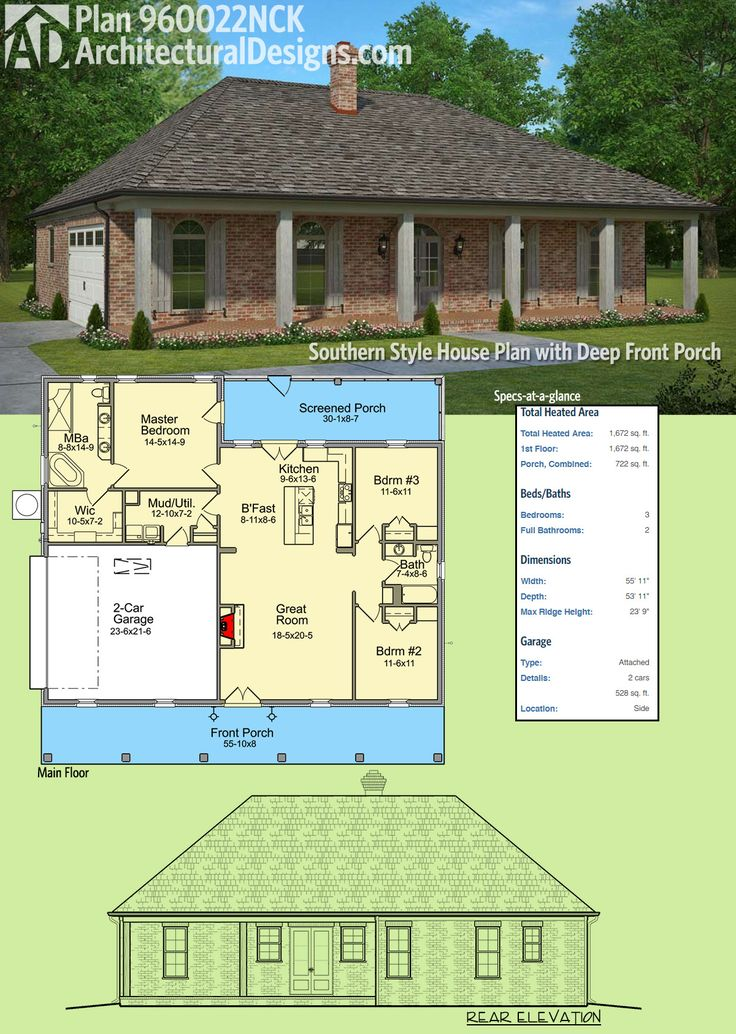 "Architectural Designs 3-Bed Southern-Style House Plan 960022NCK has a 10'8""-deep front porch spanning the entire front of the home. A screened porch in back gives you more outdoor space to enjoy. The home gives you over 1,600 square feet of heated living space. Ready when you are. Where do YOU want to build?"
