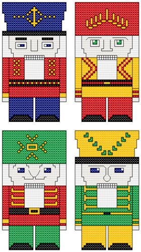 Mini Nutcrackers cross stitch pattern.