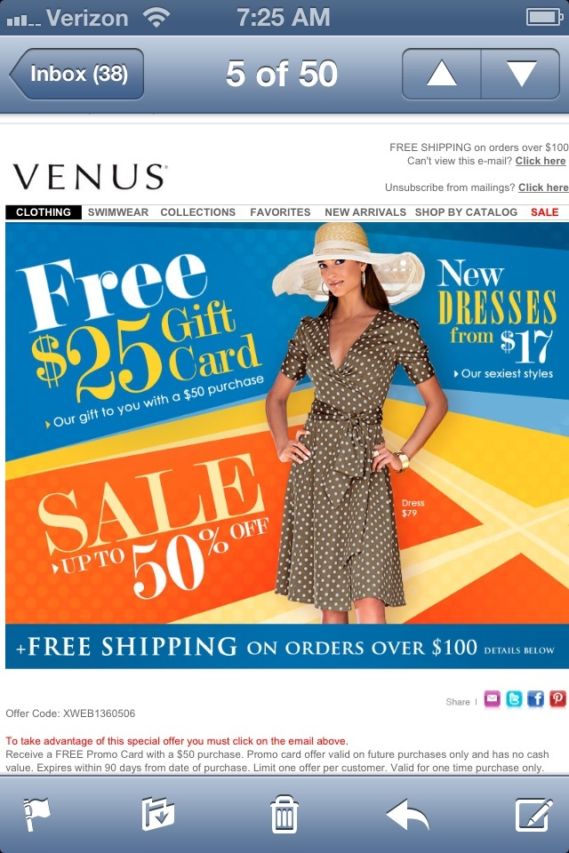 Venus coupon code june 2018
