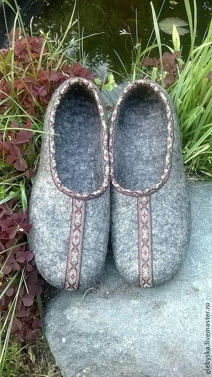 """Обувь ручной работы. Ярмарка Мастеров - ручная работа. Купить Тапочки """"Орнамент-2"""". Handmade. Серый, ручная работа"""