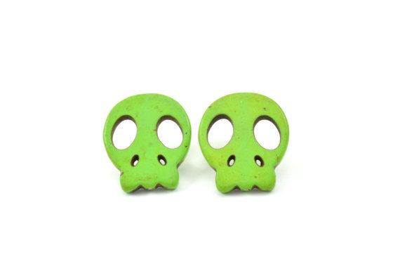 Howlite skull studs earrings green studs by BethCarina on Etsy