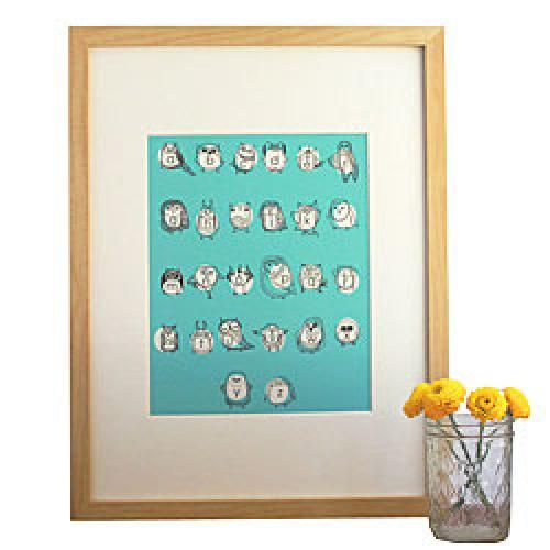Turquoise Owlphabet Fine Art Nursery Wall Print by Gingiber - http://www.247babygifts.net/turquoise-owlphabet-fine-art-nursery-wall-print-by-gingiber/
