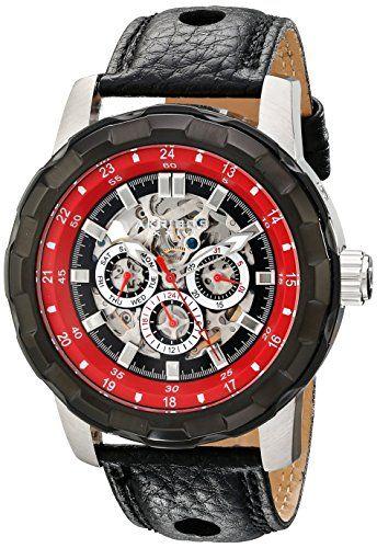 Akribos XXIV Men's AK557RD Premier Automatic Multi-Function Leather Strap Watch