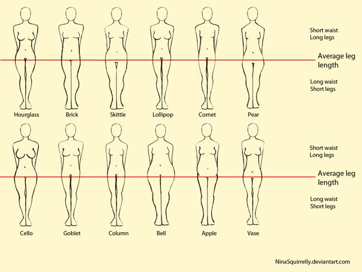 12 realistic woman body shape chart by NinaSquirrelly