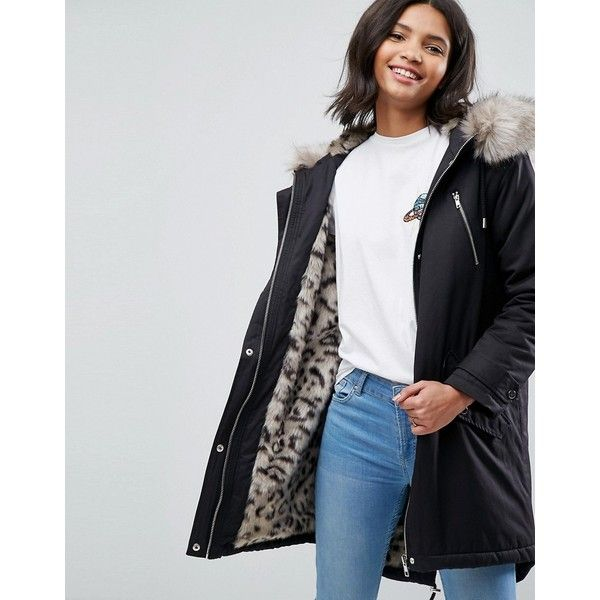 ASOS Parka with Snow Leopard Faux Fur Liner (1.825.605 IDR) ❤ liked on Polyvore featuring outerwear, coats, black, faux fur coat, faux fur parka, funnel-neck coats, asos coats and asos parka