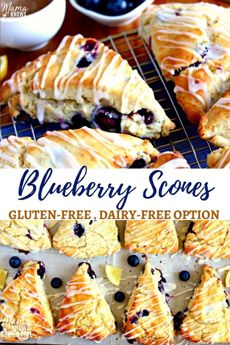 Easy Gluten-Free Blueberry Scones with a sweet and tangy lemon glaze. Made with …