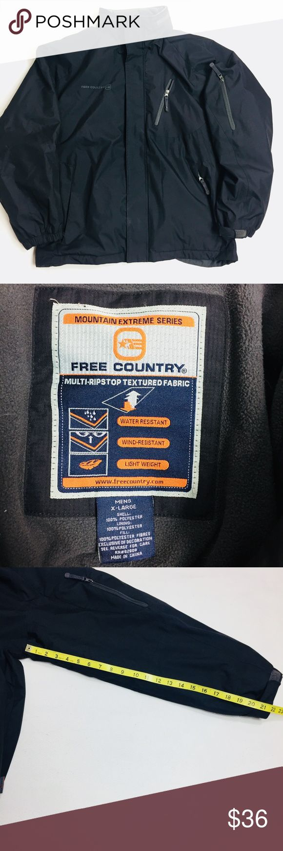 "Free Country Ski Jacket 3-in-1 Multi-Ripstop Black Free Country Mens Ski Jacket 3-in-1 Multi-Ripstop  Hooded Lined Winter XL Black  in gently worn condition  A0110kt10  Condition:Pre-owned ""very good"" Free Country Jackets & Coats Ski & Snowboard"