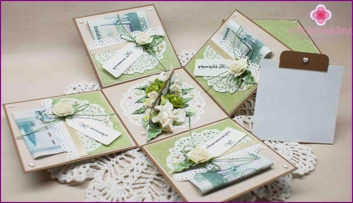 Jak originální darovat peníze na svatbu: nápady pro blahopřání