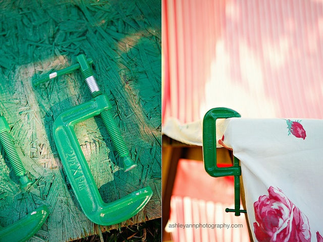 DIY c-clamp holders for tablecloths. I like the spray painting them idea.