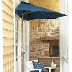 Clever half-umbrella for small space - Gotta do this outside my sliding door for the new deck...