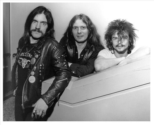 "The classic line-up (and might I add, the best line-up in the band's history IMO) of the mighty Motörhead. (l to r) Ian Fraser ""Lemmy"" Kilmister, ""Fast"" Eddie Clarke & ""Philthy"" Animal Taylor."
