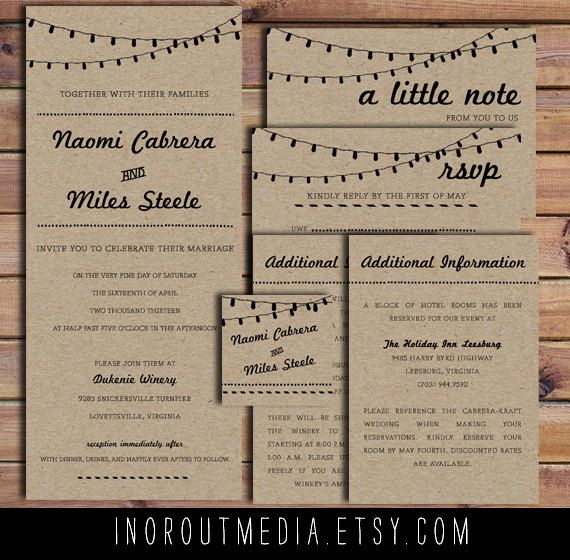Rustic Wedding Invitation  Retro Kraft paper RSVPs by inoroutmedia, $65.00