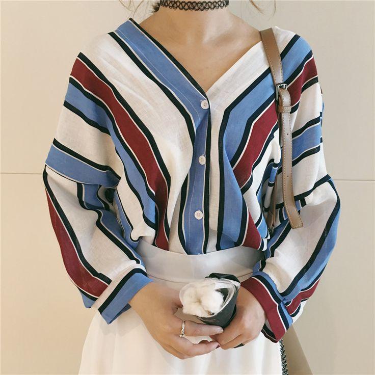 レディースファッション通販★トレンドファッション♪Vネックストライプ柄シャツ