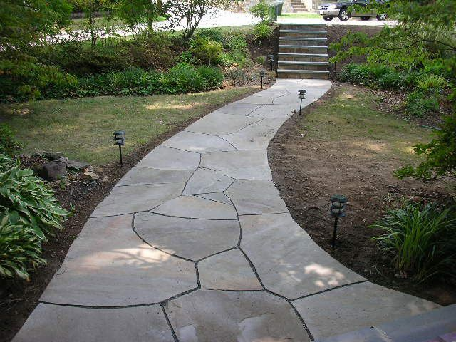 Flagstone Walkway Design Ideas easy flagstone path bordered in brick Find This Pin And More On Walkway Ideas