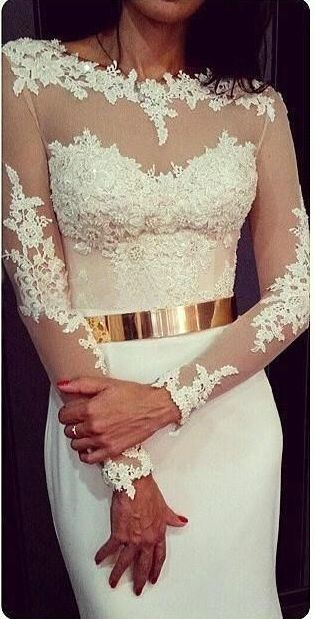 White Lace Long Sleeves Mermaid Evening Gowns with Gold Metal Belt Long Prom Dresses