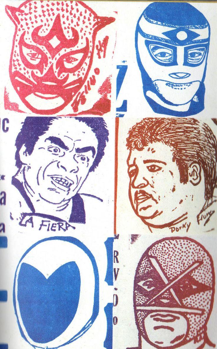 Arte de luchadores. Lucha libre wrestlers from Mexico.