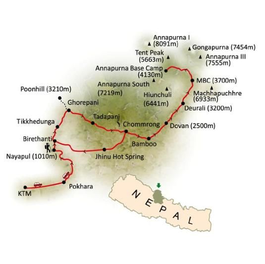 Route map of Annapurna base camp trekking from Nepal Himalayas Trekking  http://www.nepalhimalayastrekking.com/annapurna-base-camp-trek.html
