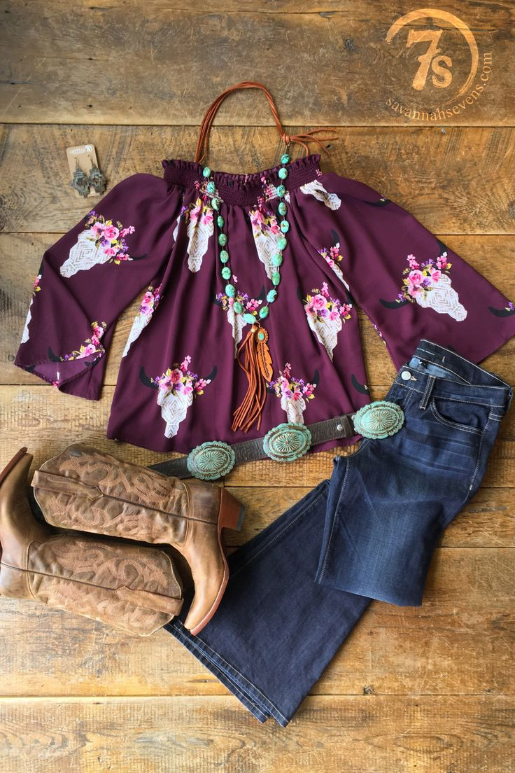 - Floral steer skull pattern top - Teal, neutral and colorful southwest steer skulls - Wine throughout - Off-the shoulder - Smalled ruffled trim elastic top that stays in place well - Flowy but flatte