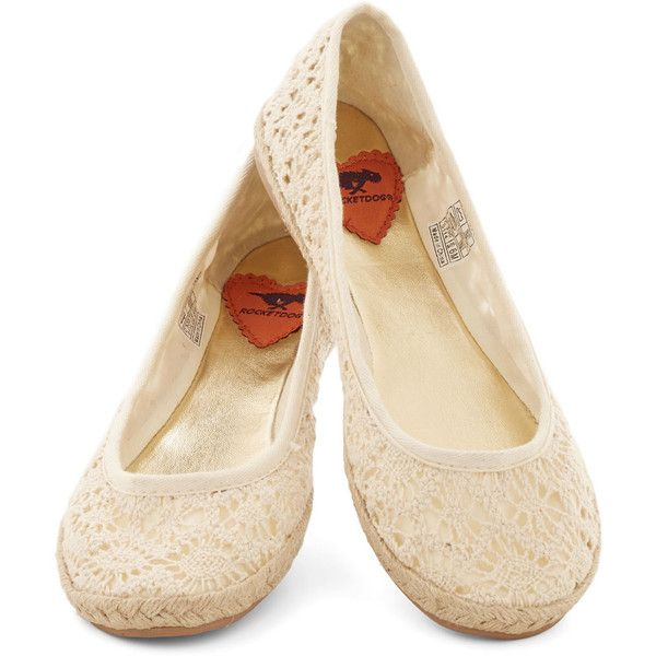 ModCloth Jute the Breeze Flat ($25) ❤ liked on Polyvore featuring shoes, flats, ballet / loafers, ballet flat, cream, flat, cream ballet flats, ballet shoes, flat shoes and ballerina flat shoes