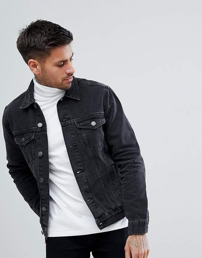 New Look Denim Jacket In Dark Gray Wash Grey Jacket Outfit Denim Jacket Grey Denim Jacket