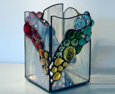 27 best images about stained glass candle holders boxes for Glass boxes for crafts
