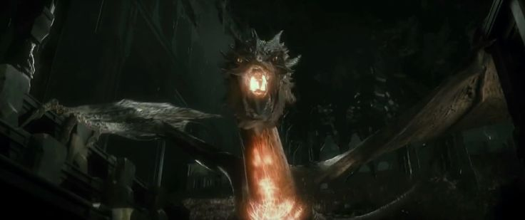 Smaug about to breathe fire! I love how his stomach glows ...