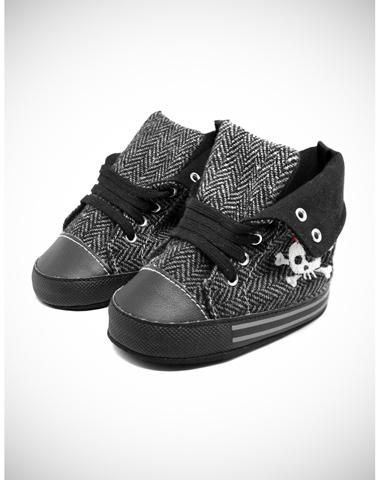 Skull Infant Soft Sole High Top Shoes