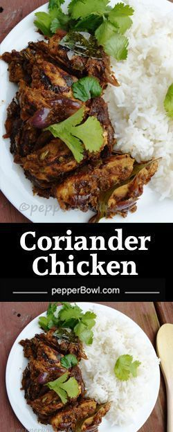 Cilantro chicken is an Indian curry recipe made with fresh cilantro leaves. It is healthy, hot, spicy, chicken.| pepperbowl.com via @pepperbowl