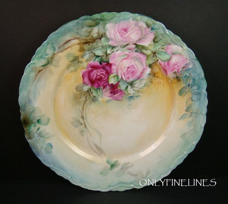 Austria - Plate - Hand Painted - Roses - Artist Signed - Snyder - Dated 1904
