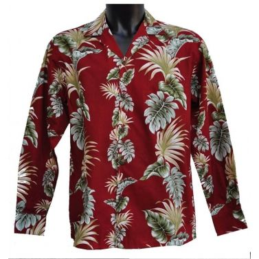 chemise hawaienne ...LONG RED AND GREEN
