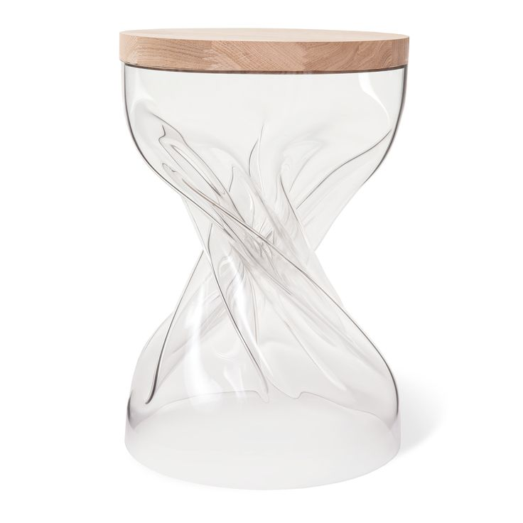 SPIN design plexi transparent + oak wood stool by Shaped