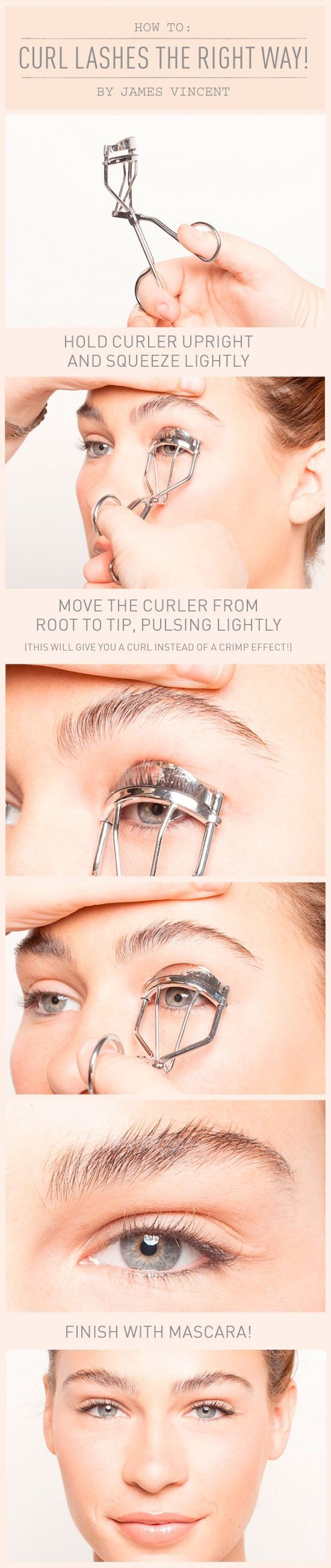 How To Curl Lashes (the Right Way) this is the silent makeup artist trick to open up eyes, make them look bigger and more awake, and make lashes look longer. Go get a tweezerman, they make the best!