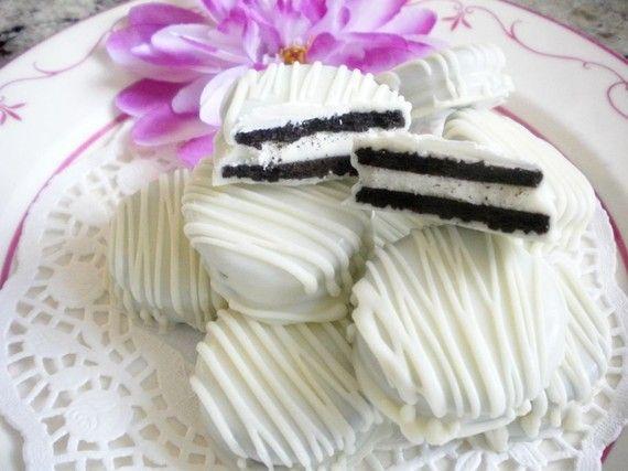 White Chocolate Covered Oreo Cookies | White Wedding Chocolate Covered Oreos Cookies Baby Shower Party Favors ...