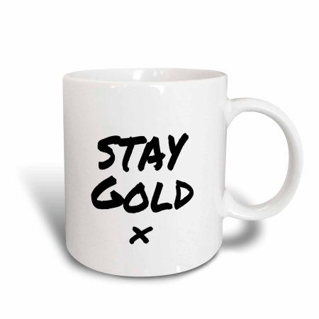 3dRose Stay Gold quote meaning be fresh, true to yourself and appreciate life, Ceramic Mug, 15-ounce