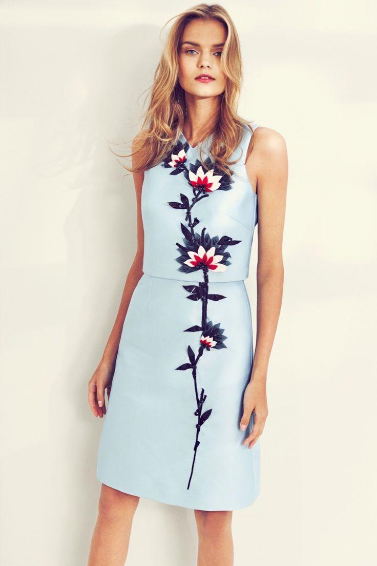 Carolina Herrera | Resort 2016 | 20 Blue sleeveless mini dress with floral details