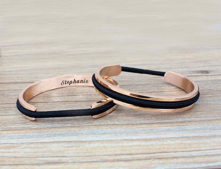 Personalized Bracelet Hair Tie Bangle Engraved Custom Name Bracelet Cuff Anniversary Gift for Her Gift for Mom Gift Women Silver Rose Gold by TayariShop on Etsy https://www.etsy.com/listing/454703632/personalized-bracelet-hair-tie-bangle