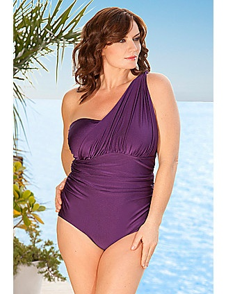 Infinity Blu Plus Size Sibilla One Shoulder Swimsuit lanebryant.com