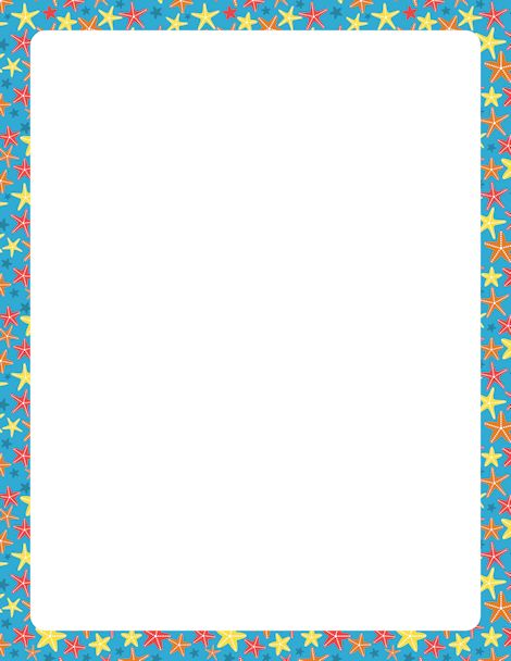 Page border with starfish on a blue background. Free downloads at http://pageborders.org/download/starfish-border/