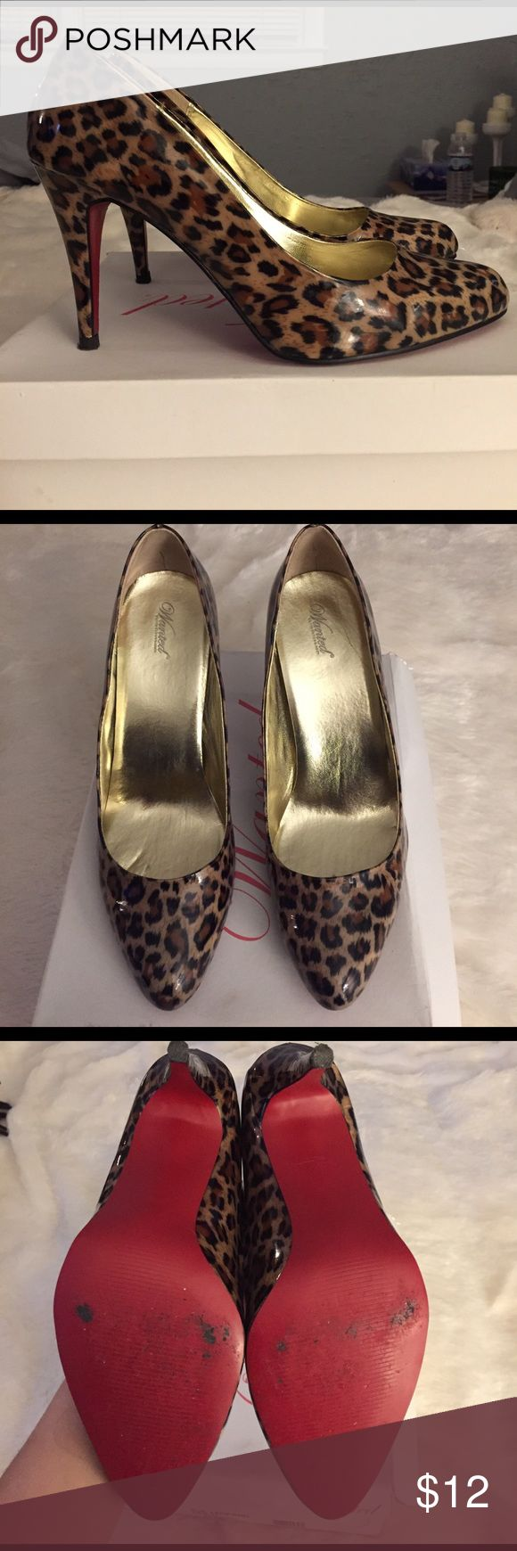 Leopard Print Pumps Leopard Wanted Pumps! Gently used, wore maybe once or twice. Great condition. No marks on the outside of the shoe, only the bottoms. Wanted Shoes Heels