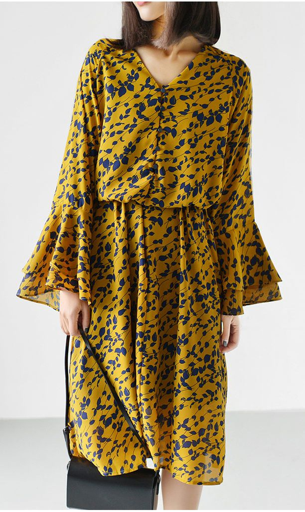 V neck chiffon maxi dress casual trumpet sleeve summer dress yellow