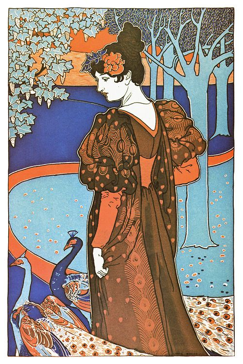 Art Nouveau Poster - Peacock - from the 1890's.