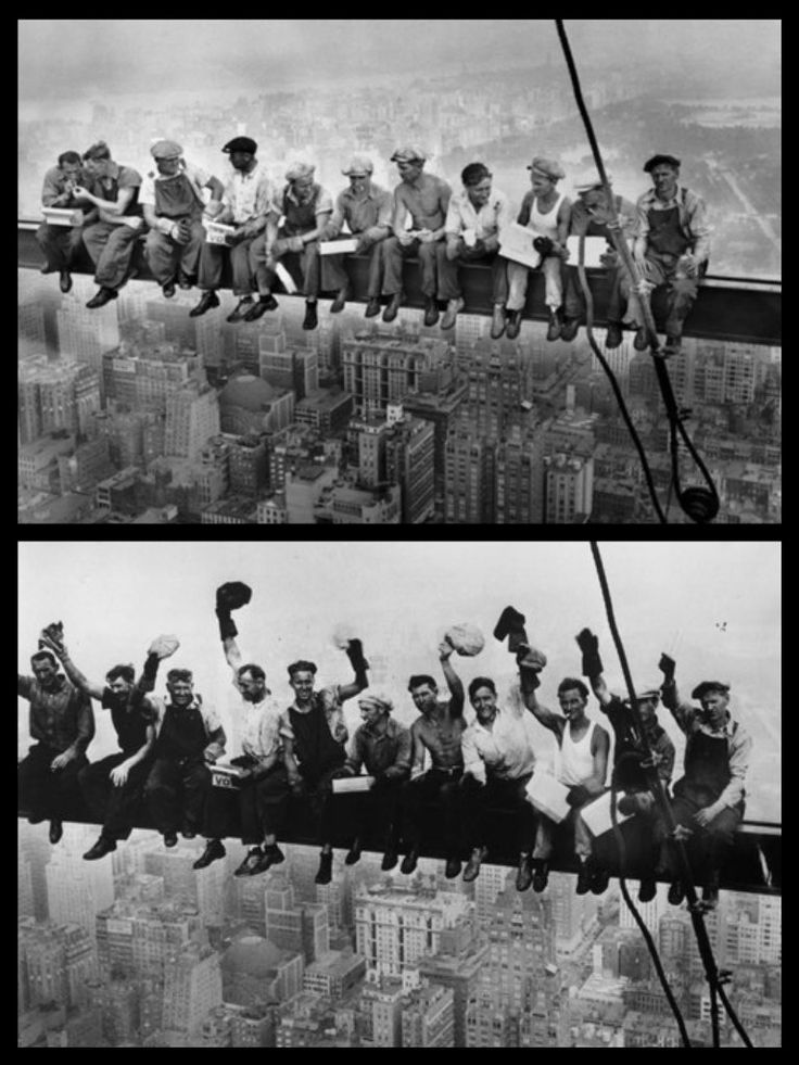 Construction workers eat their lunches atop a steel beam 800 feet above ground, at the building site of the RCA Building in Rockefeller Center in New York, Sept. 29, 1932. And, the previously unpublished version of the iconic photograph.