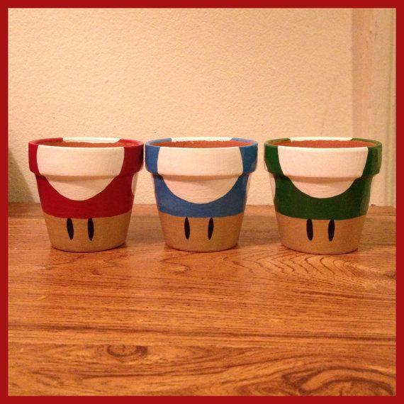 Super Mario Mushroom Planting Pots Set of 3 by K8BitHero on Etsy, $25.00