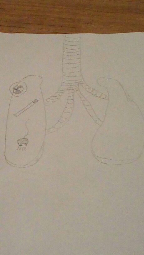 Dit was mijn ontwerp van de longen, eerst wilde ik er auto-onderdelen in doen, maar toen bedacht ik dat het leuker was om er een snelweg van te maken met autootjes